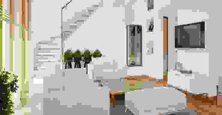 Mẫu phòng khách màu trắng sang trọng bởi Thương hiệu Nội Thất Hoàn Mỹ Hiện đại