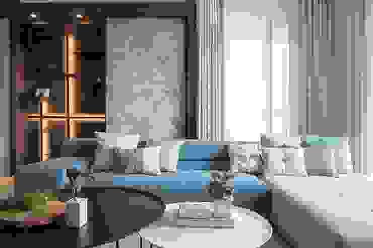 鄧醫師的時光慢速宅 现代客厅設計點子、靈感 & 圖片 根據 Fertility Design 豐聚空間設計 現代風 大理石