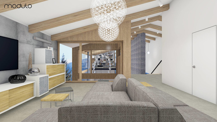 DOM w górach Skandynawski salon od MODULO Pracownia architektury wnętrz Skandynawski