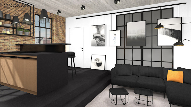 MIESZKANIE w stylu industrialnym Industrialny salon od MODULO Pracownia architektury wnętrz Industrialny
