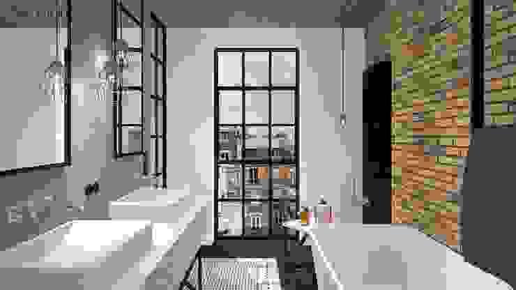 MIESZKANIE w stylu industrialnym Industrialna łazienka od MODULO Pracownia architektury wnętrz Industrialny