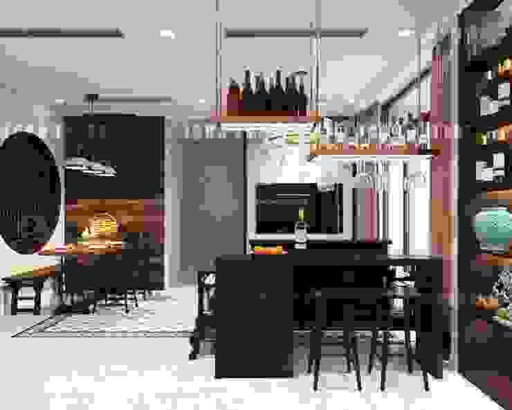 Cảm hứng Đông Dương trong thiết kế nội thất căn hộ Vinhomes Golden River:  Nhà bếp by ICON INTERIOR