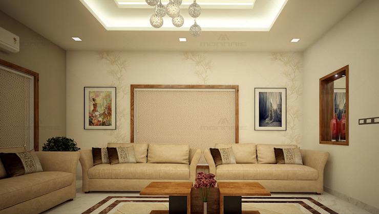 Simple Living Room Decoration: asian  by Monnaie Interiors Pvt Ltd,Asian