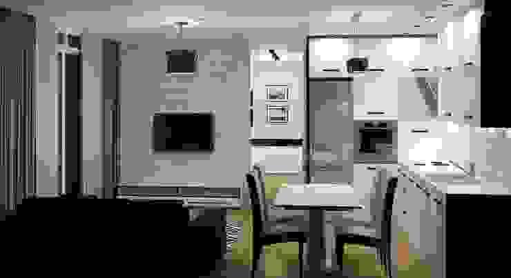 Czarno Biało Nowoczesny salon od 3D Interior Studio Projektowania Wnętrz Nowoczesny