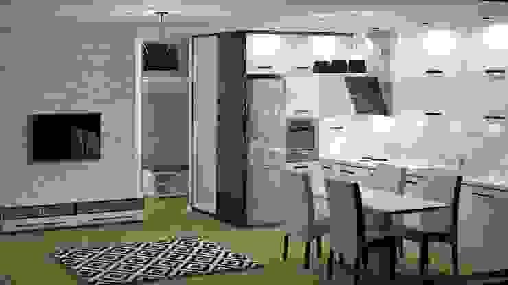 Czarno Biało Nowoczesna kuchnia od 3D Interior Studio Projektowania Wnętrz Nowoczesny