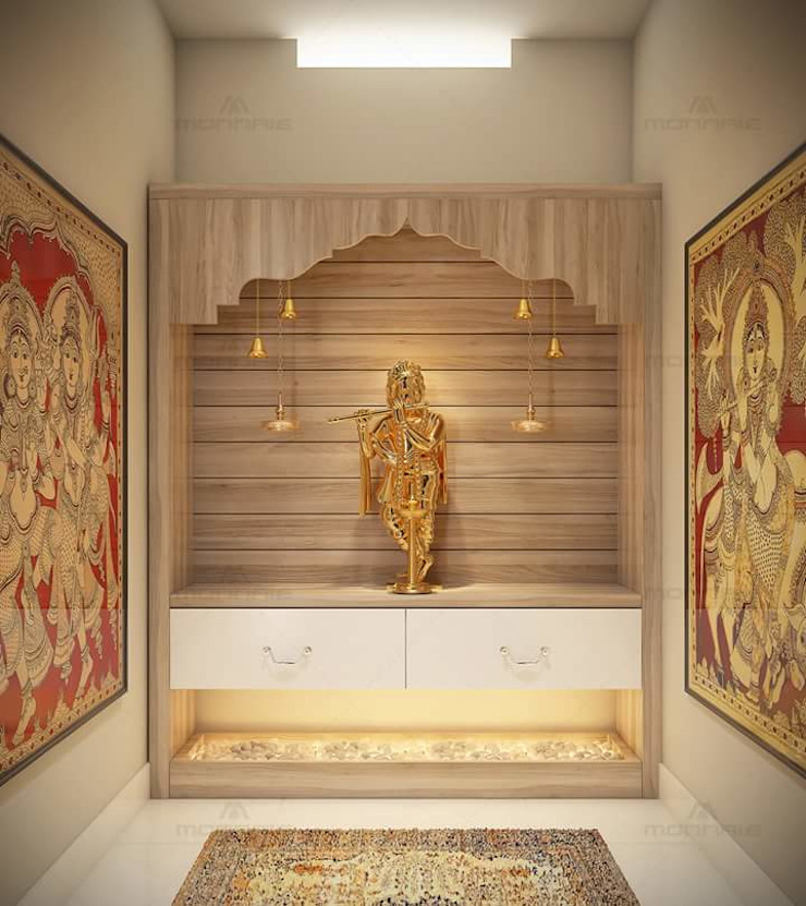 Pooja Room classicspaceinterior Living roomAccessories & decoration Wood effect