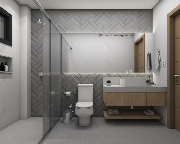 Bruna Schuster Arquitetura & Interiores Ванна кімната Сірий