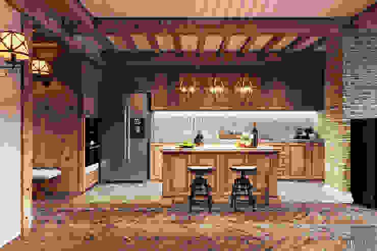 Phong cách Rustic ~ Rustic style ~ Vinhomes Central Park Nhà bếp phong cách mộc mạc bởi ICON INTERIOR Mộc mạc