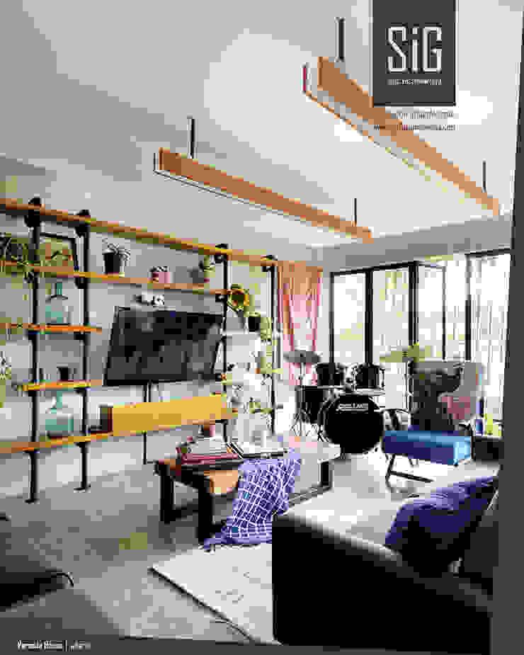 Rumah Beranda – Green Boarding House Ruang Keluarga Gaya Industrial Oleh sigit.kusumawijaya | architect & urbandesigner Industrial Besi/Baja