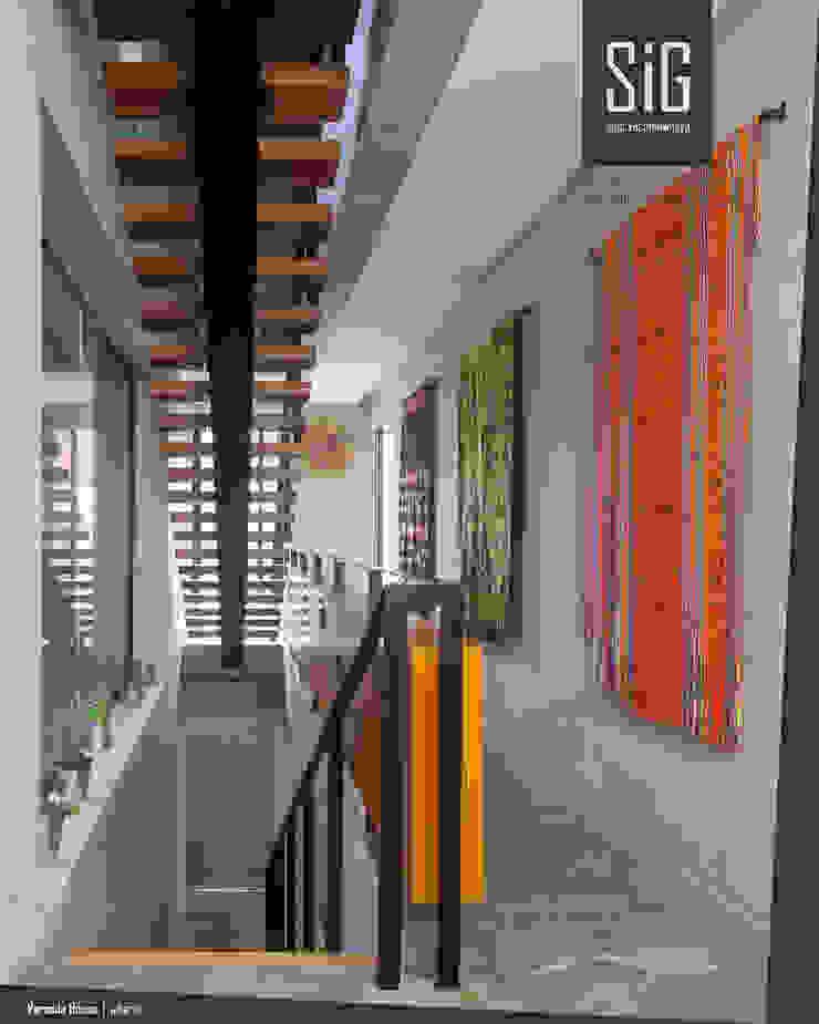 Rumah Beranda – Green Boarding House Koridor & Tangga Gaya Industrial Oleh sigit.kusumawijaya | architect & urbandesigner Industrial Besi/Baja