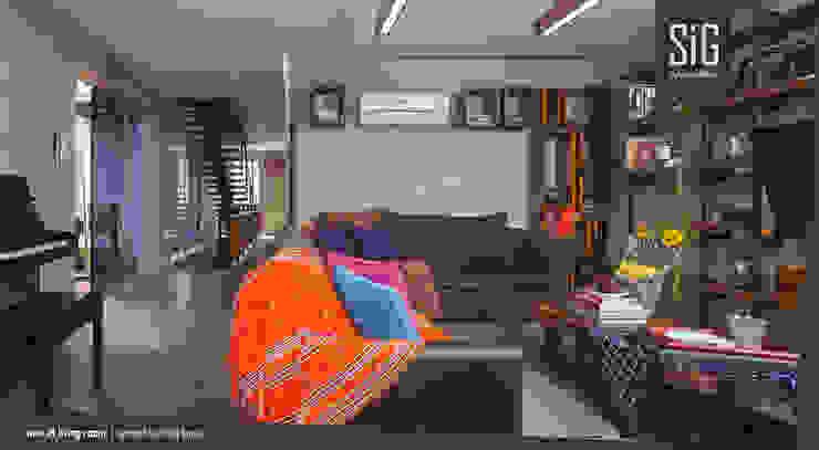 Rumah Beranda – Green Boarding House Ruang Keluarga Gaya Industrial Oleh sigit.kusumawijaya | architect & urbandesigner Industrial Kayu Wood effect