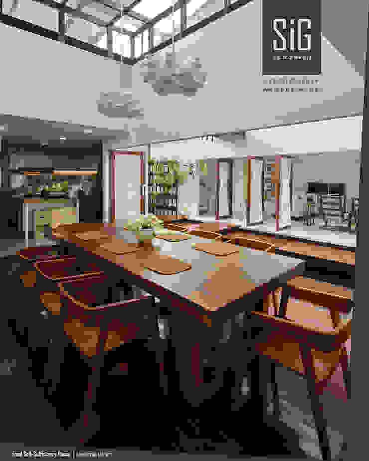 Rumah Kebun Mandiri Pangan (Food Self-Sufficiency House) Ruang Makan Minimalis Oleh sigit.kusumawijaya | architect & urbandesigner Minimalis Kayu Wood effect