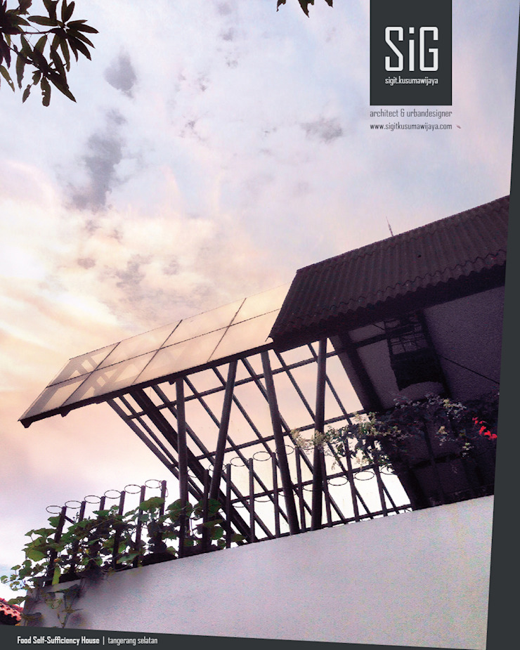 Rumah Kebun Mandiri Pangan (Food Self-Sufficiency House) Oleh sigit.kusumawijaya | architect & urbandesigner Minimalis Besi/Baja