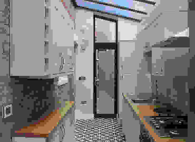 Interior view of the new kitchen RS Architects Kitchen units Bricks White
