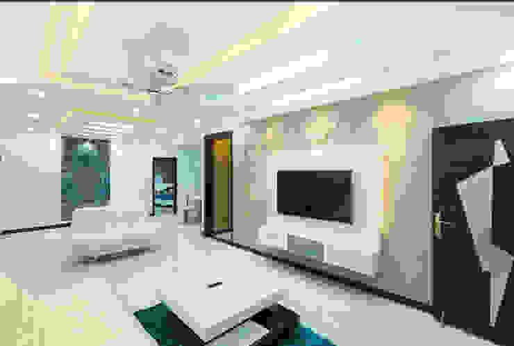 Tv unit with designer back panel in living room :  Living room by Rhythm  And Emphasis Design Studio ,Modern