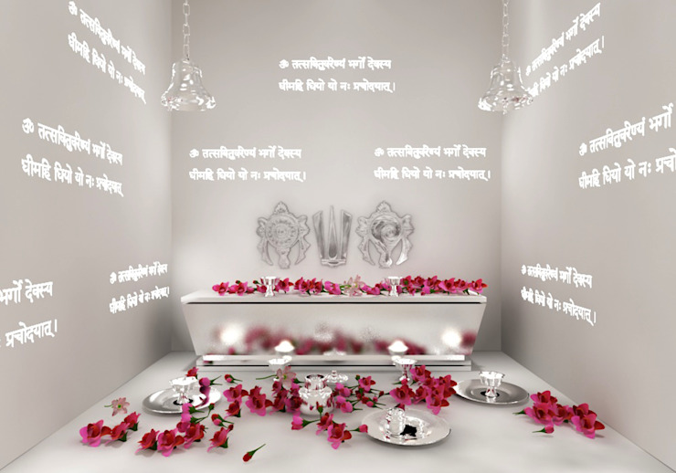 Pooja room design in the villa residence Rhythm And Emphasis Design Studio Modern living room
