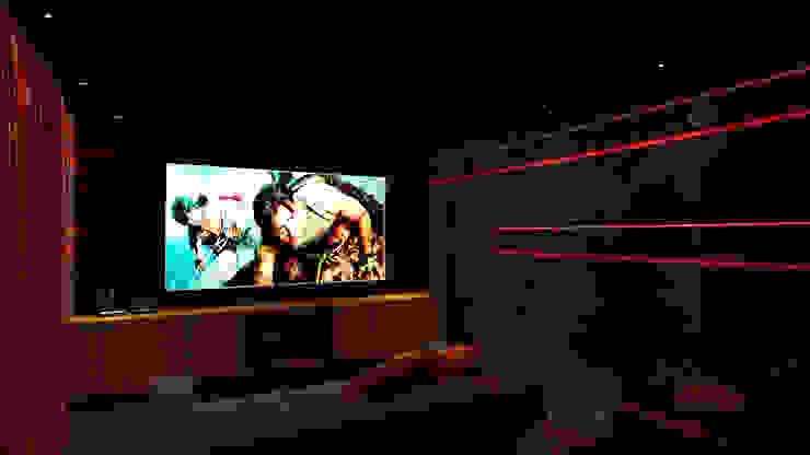 home theatre design Modern media room by Rhythm And Emphasis Design Studio Modern