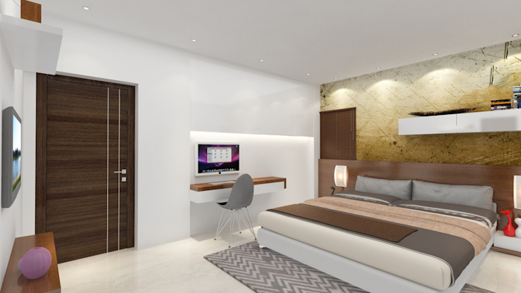 Bedroom with study unit design Modern style bedroom by Rhythm And Emphasis Design Studio Modern