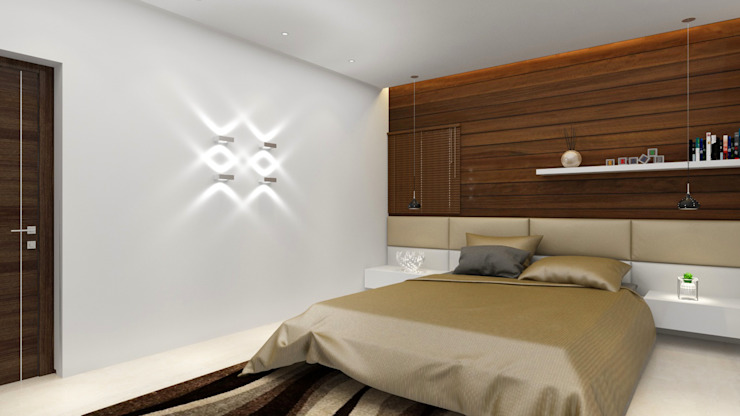 Bedroom with rafters panelled back wall as highlight Modern style bedroom by Rhythm And Emphasis Design Studio Modern