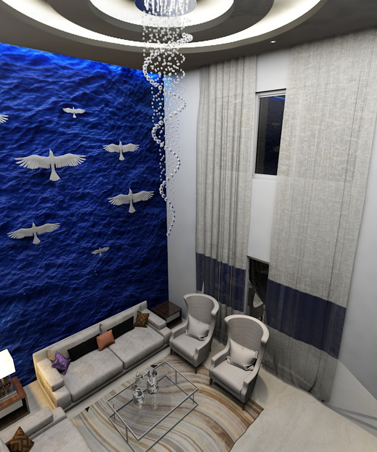 Absolutely stunning wall texture with decor inspired by ocean in the living room Modern living room by Rhythm And Emphasis Design Studio Modern