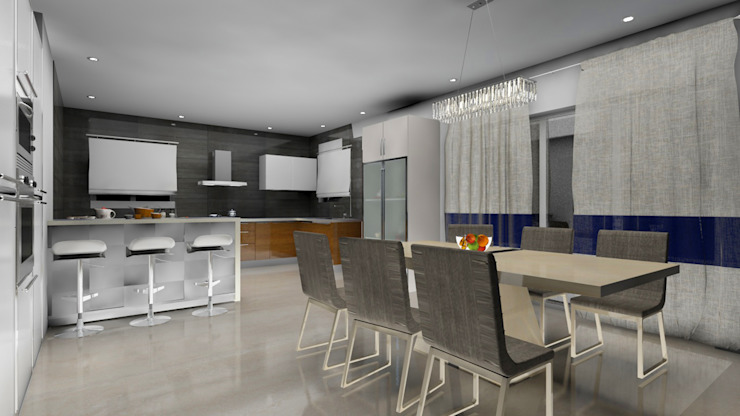 Dining with open kitchen concept design Modern dining room by Rhythm And Emphasis Design Studio Modern