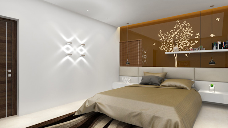 Bedroom with brown glass back panel design Modern style bedroom by Rhythm And Emphasis Design Studio Modern