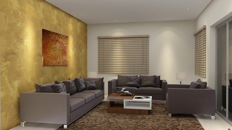 Drawing room design with a wall paper Modern living room by Rhythm And Emphasis Design Studio Modern