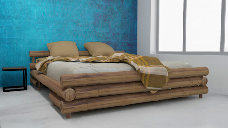 Bedroom design with blue texture paint :  Bedroom by Rhythm  And Emphasis Design Studio ,