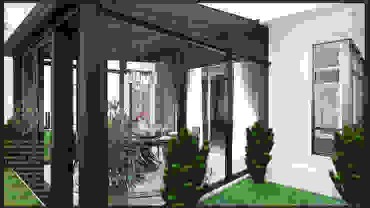 Garden with dining Modern dining room by Enrich Artlife & Interior Design Sdn Bhd Modern