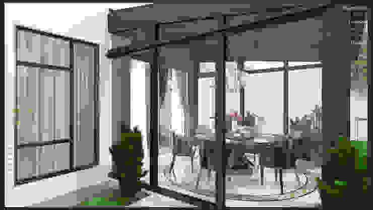 Garden with dining Enrich Artlife & Interior Design Sdn Bhd Modern dining room