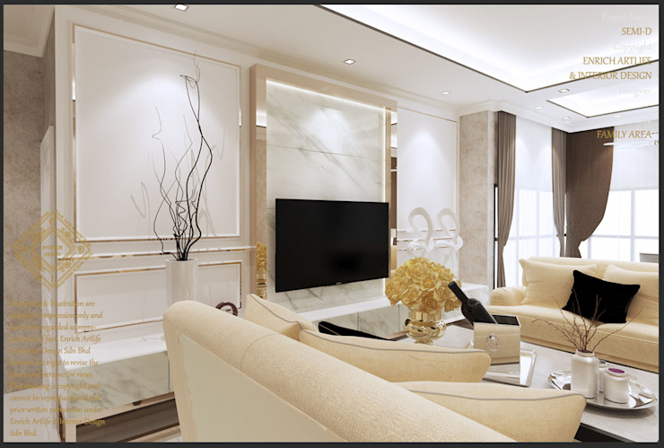 Semi-Detached Houses Design - Senibong Villa Johor,Malaysia Enrich Artlife & Interior Design Sdn Bhd Living room