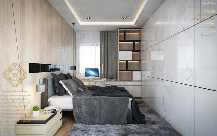 Bungalow Design -Yong Peng Johor Bahru,Malaysia Modern style bedroom by Enrich Artlife & Interior Design Sdn Bhd Modern