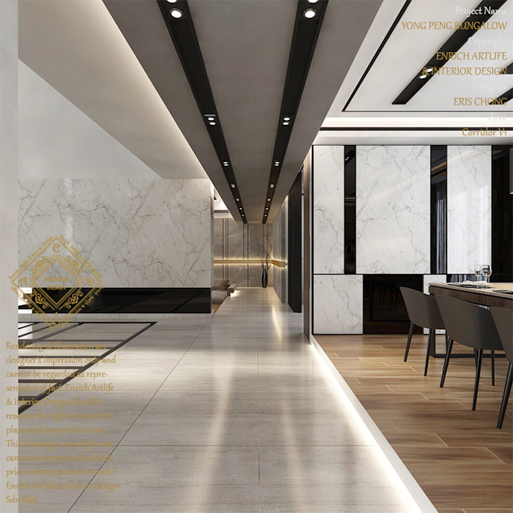 Bungalow Design -Yong Peng Johor Bahru,Malaysia Modern corridor, hallway & stairs by Enrich Artlife & Interior Design Sdn Bhd Modern