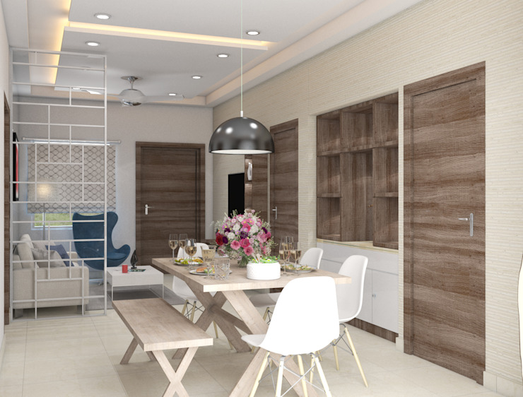 Mid centuary style dining table in the dining area Modern dining room by Rhythm And Emphasis Design Studio Modern