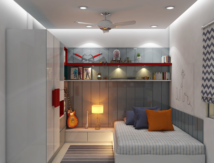 Bedroom- besigned for Singles Modern style bedroom by Rhythm And Emphasis Design Studio Modern