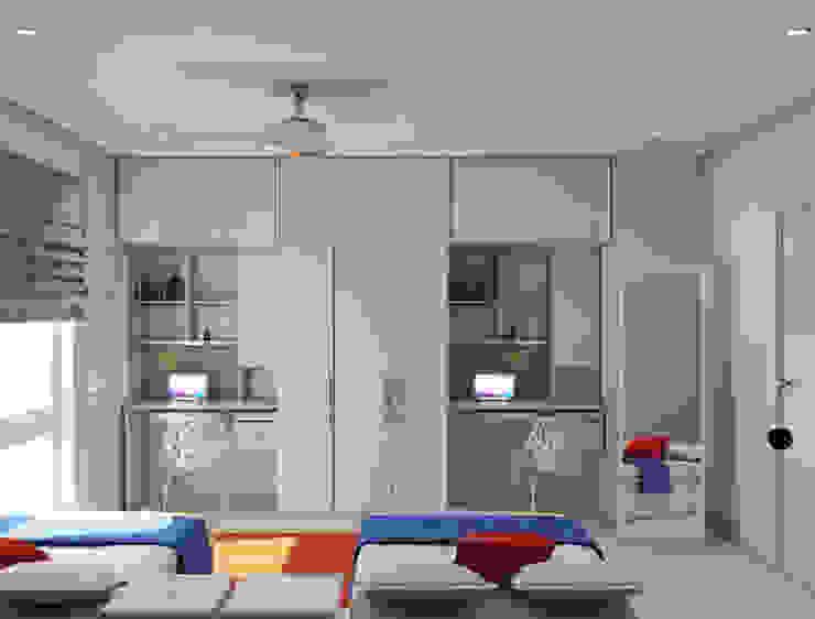 Kids room with wardrobe cum study design Rhythm And Emphasis Design Studio Modern living room