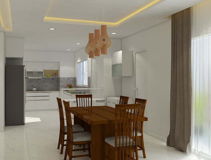 dining area in the residence :  Dining room by Rhythm  And Emphasis Design Studio ,Modern