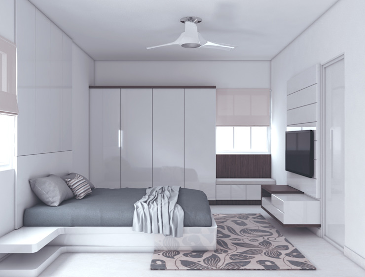 Wardrobe with window seating with a storage below in the bedroom Modern style bedroom by Rhythm And Emphasis Design Studio Modern