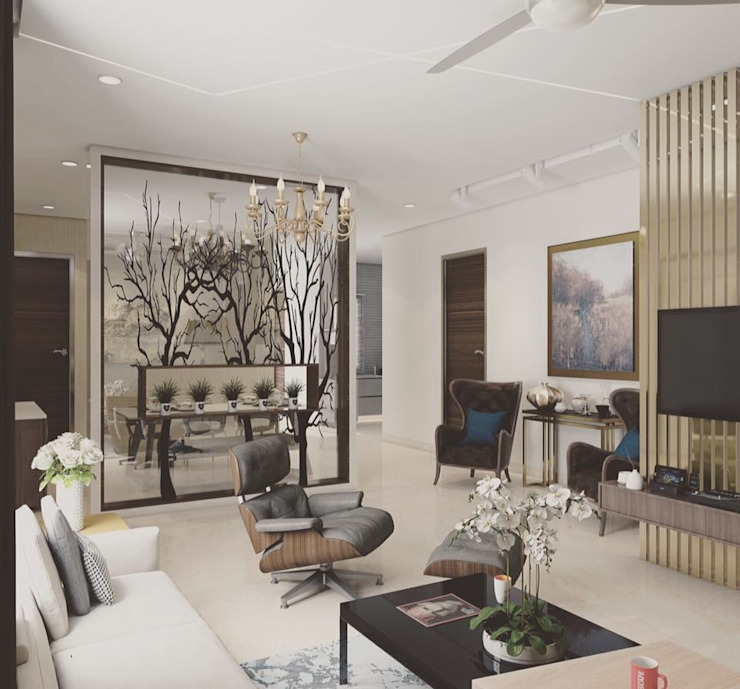 Living room with a designer partition: modern  by Rhythm  And Emphasis Design Studio ,Modern
