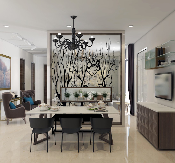 A six seater dining table design : modern  by Rhythm  And Emphasis Design Studio ,Modern