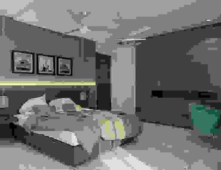 Bedroom with a designer headboard : modern  by Rhythm  And Emphasis Design Studio ,Modern