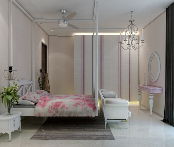 Girls bedroom in white and pink by Rhythm And Emphasis Design Studio