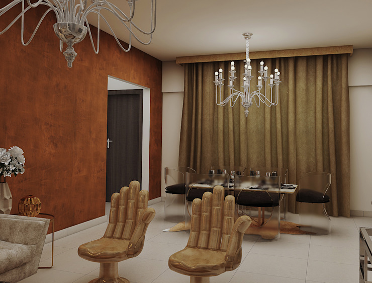 dining design in the living cum dining area with chandlier:  Dining room by Rhythm  And Emphasis Design Studio ,