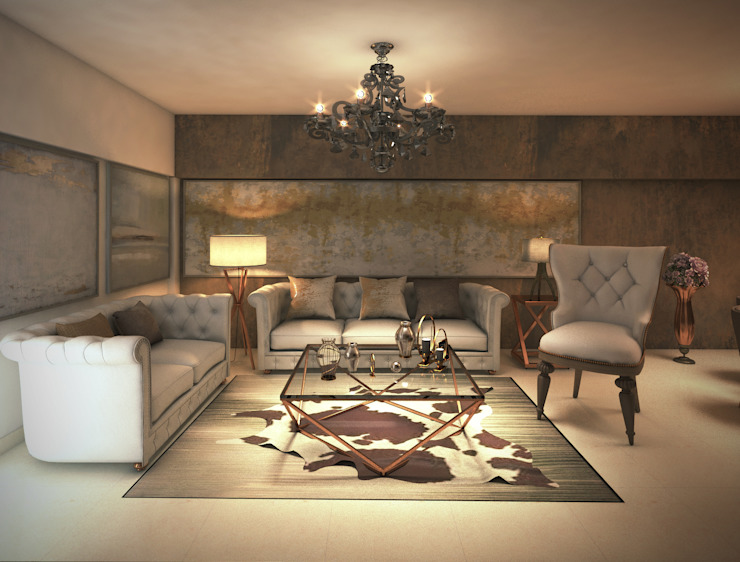 luxurious living room in neutral contemporary Rhythm And Emphasis Design Studio Modern living room