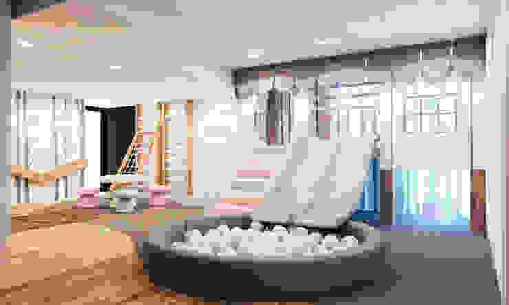 Playhouse with double slide, ball pool and climbing gym Tigerplay Modern nursery/kids room