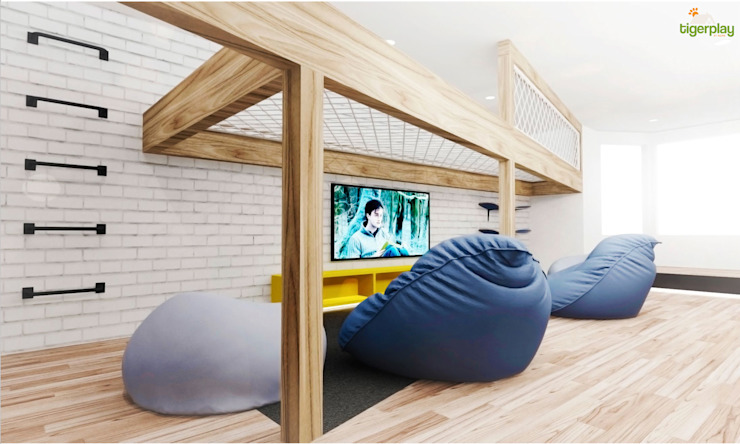The timber mezzanine adds another level to the room without compromising the light or floor space Tigerplay Modern media room Blue