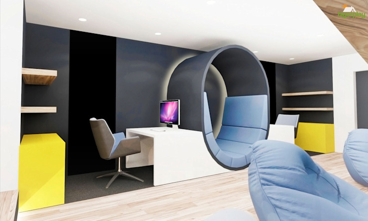 Bespoke workstation with backlit reading seat Salas de entretenimiento de estilo moderno de Tigerplay at Home Moderno