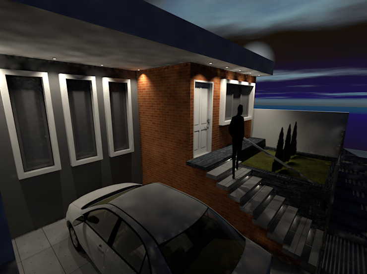 Renovación de fachada y antejardín para vivienda de Arquitecto Harvin Sanchez Areniz Moderno