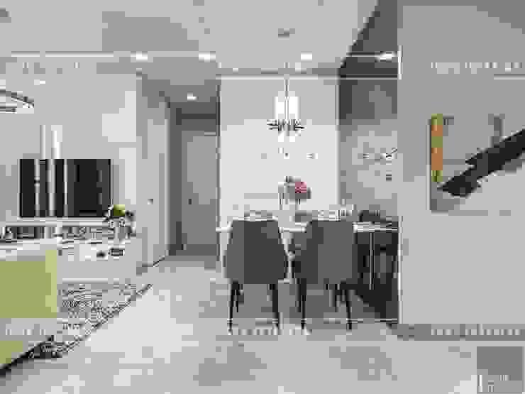 Thiết kế phong cách hiện đại thanh lịch với tông màu trắng Phòng ăn phong cách hiện đại bởi ICON INTERIOR Hiện đại