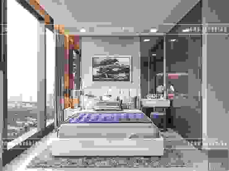 Thiết kế phong cách hiện đại thanh lịch với tông màu trắng Phòng ngủ phong cách hiện đại bởi ICON INTERIOR Hiện đại